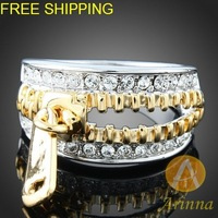 Free Shipping Arinna silver crystal ring Clear Crystal GP Fashion Ring Rhinestone Crystals element  enamel Fashion Ring J2822