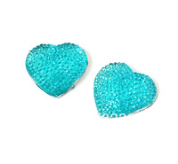 20MM Flatback Resin Cabochon Bling Blue Heart Cell Phone Case DIY Handmade Decoration Accessory 12PCS