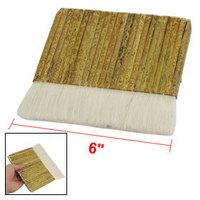 "6"" Wide Rectangular Khaki Bamboo Handle White Faux Wool Painting Paint Brush 2 Pcs free shipping"
