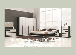 5Pcs Bedroom sets with full Black oak melamine +White HG Furniture(China (Mainland))