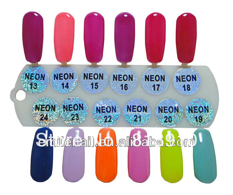Free shippng 2013 factory NEON 24 soak off uv one step gel nail polish (1lot=12pcs)(China (Mainland))