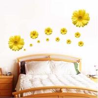 Yellow Africa Daisy Floral Flower Wall Decals Vinyl Removable mural Sticker Art