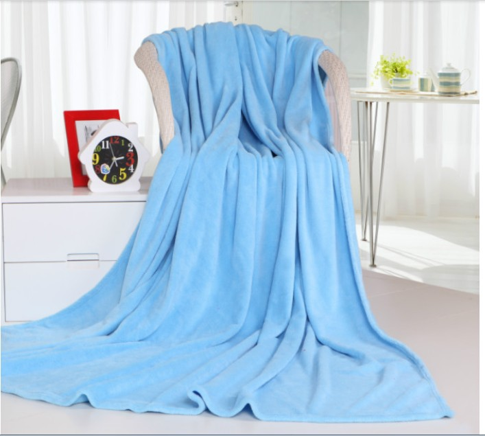 Free Shipping Top Quality Warm Sky Blue Pure Color Flannel Fleece Blanket Bed Throw Air Conditioner Quilt Hotel/Travel Blanket(China (Mainland))