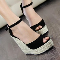 Elegant fashion women's open toe button straw braid wedges platform velvet platform sandals