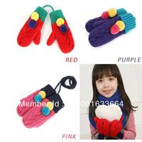 Free shipping Children's gloves baby gloves Korea plush gloves Korean winter boys and girls warm wool gloves
