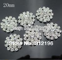 EMS Free Shipping!360pcs/lot 20mm Alloy Clear Crystal Rhinestone Buttons,Wedding/hair/dress/garment accessory