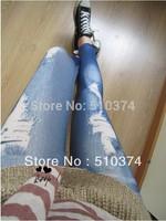 New Fashion Knitting K263 printing styles faux denim jeans women skinny leggings pencil pants slim elastic stretchy