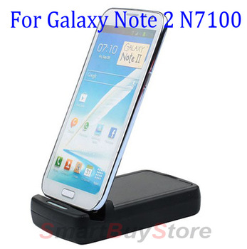 20pcs/lot,2nd Battery Charger Dual Cradle USB Desktop Sync Dock for Samsung Galaxy Note 2 II N7100, Free Shipping
