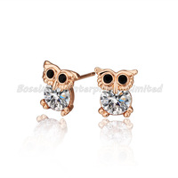 Min order $10(mix order),Owl 18K Rose Gold Plated Earrings,Rhinestone, Fashion Jewelry,Wholesale Stud Earring E276