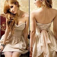 free shipping  Small fashion elegant vintage high waist star style tube top dress formal dress ladies black  beige