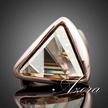 Азора 18 К настоящее розовое золото покрытием золото цвет треугольник Stellux австрийский хрусталь кольцо TR0015