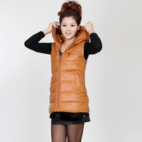 2012 fashionable casual down cotton vest female with a hood slim medium-long PU vest