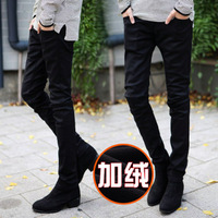 F340 male plus velvet thickening slim denim pencil pants skinny pants