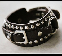 Min.order is $15 (mix order) Very cool ! Leather PUNK rivets buckle belt chain charm bracelets KS0175070