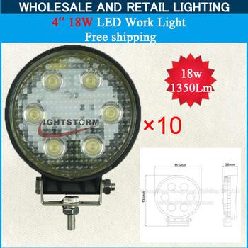 Truck LED Utility Light 4inch 9-30 Volt 18 Watt Work Light for truck ,forklift, trains, boat 10PCS Free Shipping