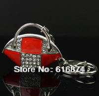 Free Shipping wholesale femal women handbag keychains red painting metal key chains promotion jewelry gift-6962