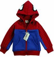 Fashion child thick top cardigan autumn winter children's outerwear baby boys halloween clothes kids cartoon spider-man jacket