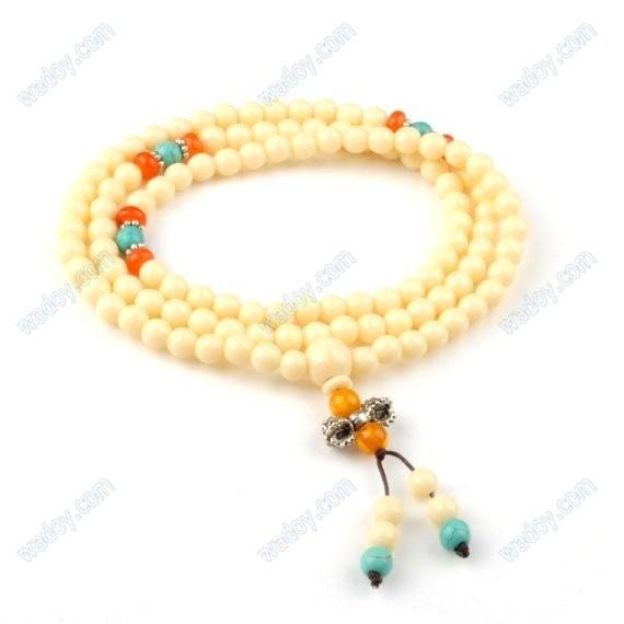 6 mm 108 imitado tibetano dente Beads budista oração pulso Mala(China (Mainland))