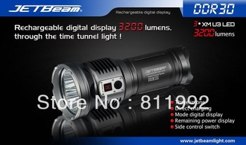 Free EMS jetbeam DDR30 3*Cree U3 LED 3200 lumens digital display LED flashlight Waterproof Rescue Search Torch
