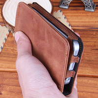 smart designing leather screen cover for iphione 5s mobile in brown color wiht hold bank card on line sale free shipping