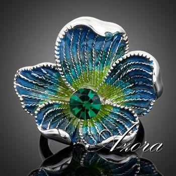 Азора платиновым покрытием синий Stellux австрийский хрусталь многоцветной цветочным узором кольцо TR0021