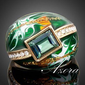 Азора 18 К настоящее позолоченные зеленый прямоугольник Stellux австрийский хрусталь картина маслом картина кольцо TR0024
