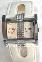 Cartoon Watch For  Children Favrite Round Dial Leather Band 2013 Hello Kitty