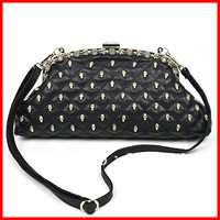 Hot sale skull rivet design high quality women's fashion shoulder bags/ladies plaid clutches free shipping