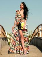 Free shipping  2013 Hot sale  womens abstract print  cardigan long dress girls floral chiffon casual dress