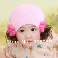 Promotion Manual flower princess wig baotou cap   baby hat girl baby hat