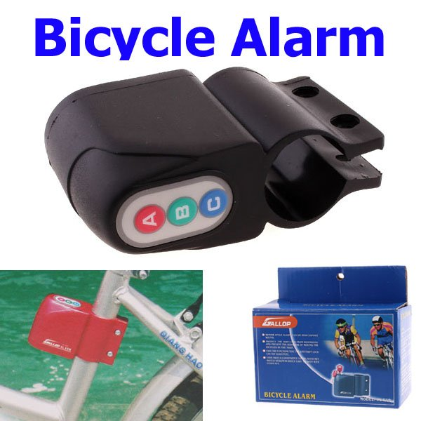 Free Shipping, 10PCS/lot Excellent Security Alarm Security Bicycle Steal Lock Bike Bicycle alarm with Retail Packaging(China (Mainland))