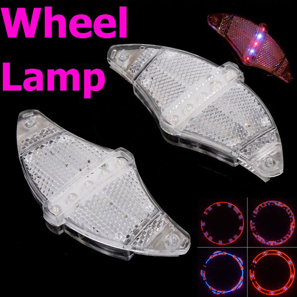 Free Shipping, Bicycle Cycling Bike LED Light Tyre Wheel Spoke Lamp Red & Blue with Retail Packaging,Baterries not Included(China (Mainland))