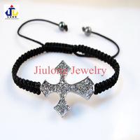 Free shipping.Wholesale silver tone pave crystal rhinestone cross shamballa cahrm bracelet.jewelry.2.89 cm x 2.3cm CB0086