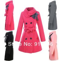 Women's Double-breasted Luxury Winter Wool Coat Jacket Black Three Size Wholesale #17