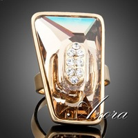 18K Real Gold Plated Big Brown Rectangula Stellux Austrian Crystal Adjustable Size Ring FREE SHIPPING!(Azora TR0026)