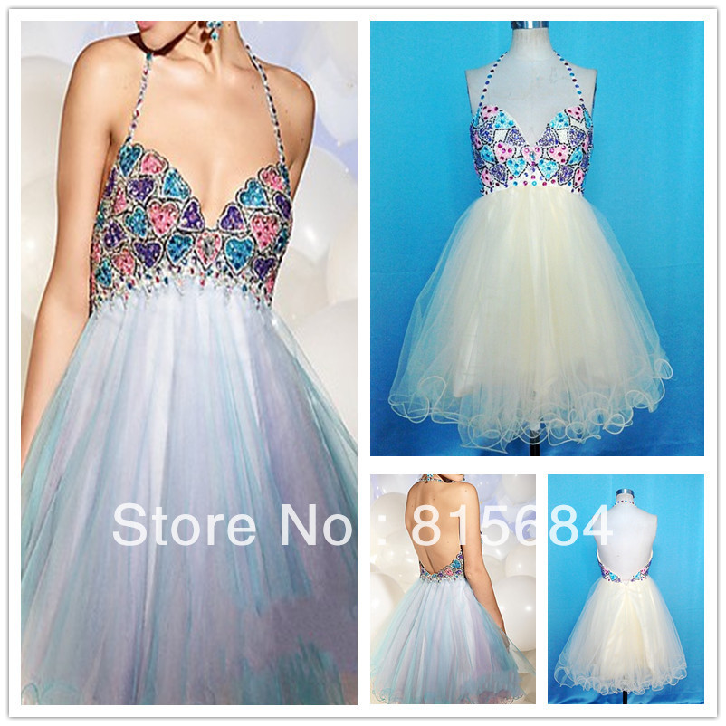 Lovely Real sample Free shipping Halter Ball gown Tulle Bead Crystal Rainbow Open back Cocktail dress bling Homecoming dresses(China (Mainland))