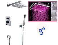 High quality color change bathroom brass shower set