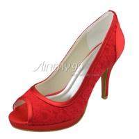 Aineny99New Design Custom Made Red Bow Peep Toe Platform Stiletto Heel Lace Wedding Bridal Evening Party Shoes Free ShippingL306