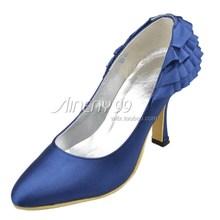 Aineny99 New Design Custom Made Blue Round Toe Ruffles Stiletto Heel Satin Wedding Bridal Evening Party Shoes Free Shipping L141(China (Mainland))