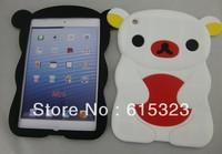 5pcs/lot Free shipping Rilakkuma Bear Cute 3D Movable Flip silicon Case Skin Cover for IPAD mini