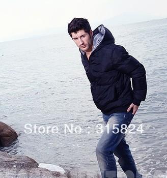 Free shipping   Black Men's short hooded coat Jacket male thickened cotton coat jacket