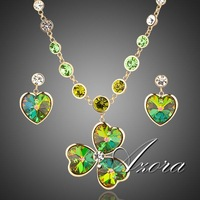 18K Gold Plated SWA ELEMENTS Austrian Crystal Heart Drop Earrings and Flower Pendant Necklace Set FREE SHIPPING!(Azora TG0012)
