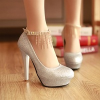 Free shipping chains fashion glitter girls sexy high heels 2013 spring new arrive pumps wedding shoes woman buckle CSXX02791