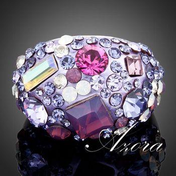 Азора платиновым покрытием полный многоцветной Stellux австрийский хрусталь кольцо TR0032