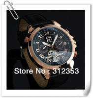 free shipping Luxury Mens Mechanical watch,JARAGAR rose golden black face Tourbillon Wrist Watch for men