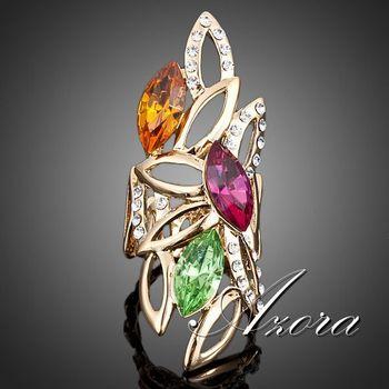 Азора 18 К настоящее позолоченные три многоцветный Stellux австрийский хрусталь капли воды кольцо TR0034