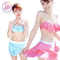 Hb summer pleated small blue pink bikini swimming pool push up swimwear split