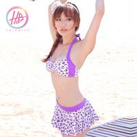 Honeybonnie bikini belt pad gentlewomen leopard print bikini swimwear