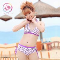 Honeybonnie bikini belt pad purple leopard print bikini swimwear
