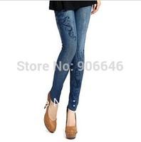 New Fashion Knitting K283 women's skinny pants printing styles faux jeans slim stretchy leggings wholesale retail FREE SHIPPING